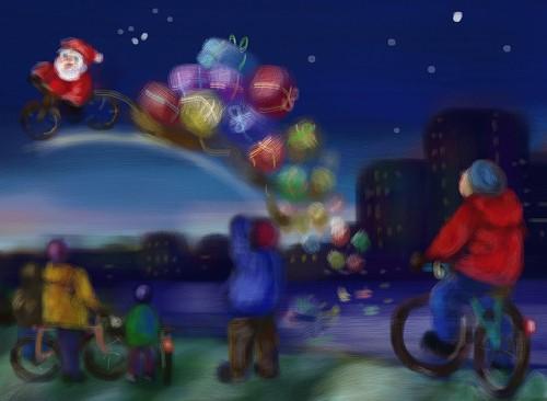 Grußkartenset Fahrrad Weihnachten Rudolphs Night