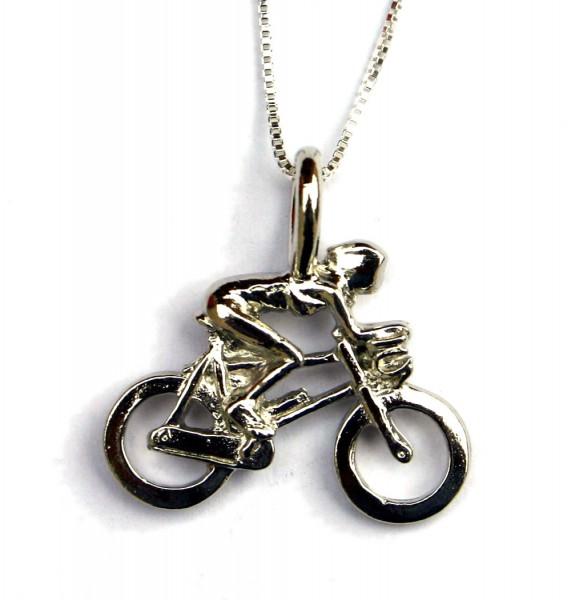 Anhänger Bikerin mit Kette Fahrrad Schmuck