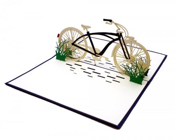 Grußkarte Fahrrad 3D blau