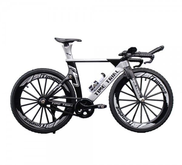 Triathlon Rennrad Miniatur Maßstab 1:10 Farbe silber