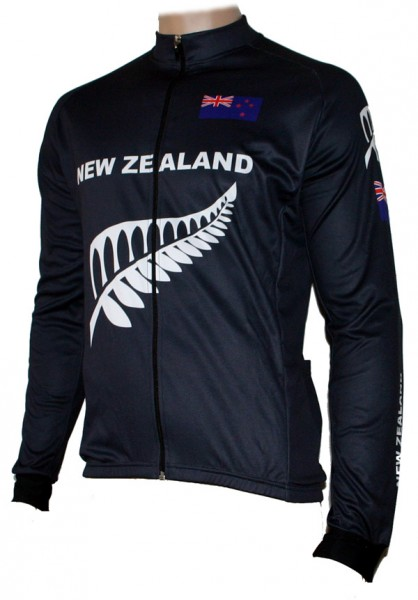 Radtrikot New Zealand Langarm All Black